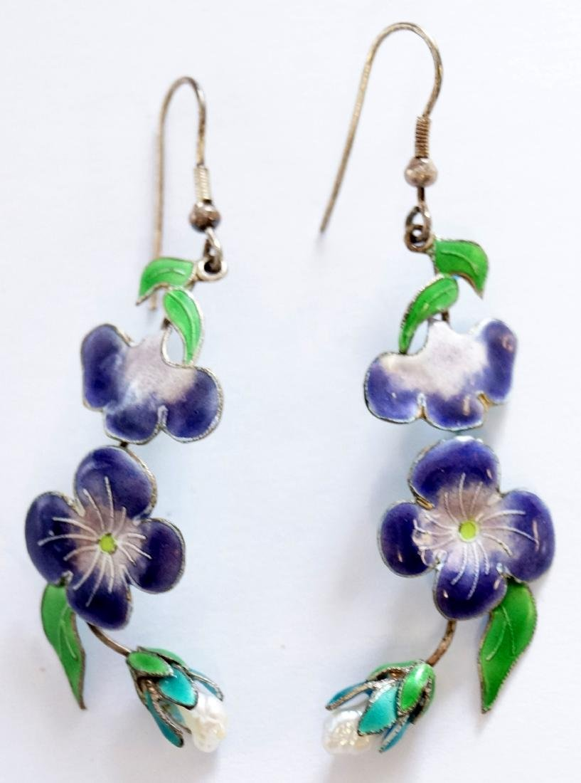 PAIR SILVER ENAMELED PIERCED PANSY DROP EARRINGS WITH