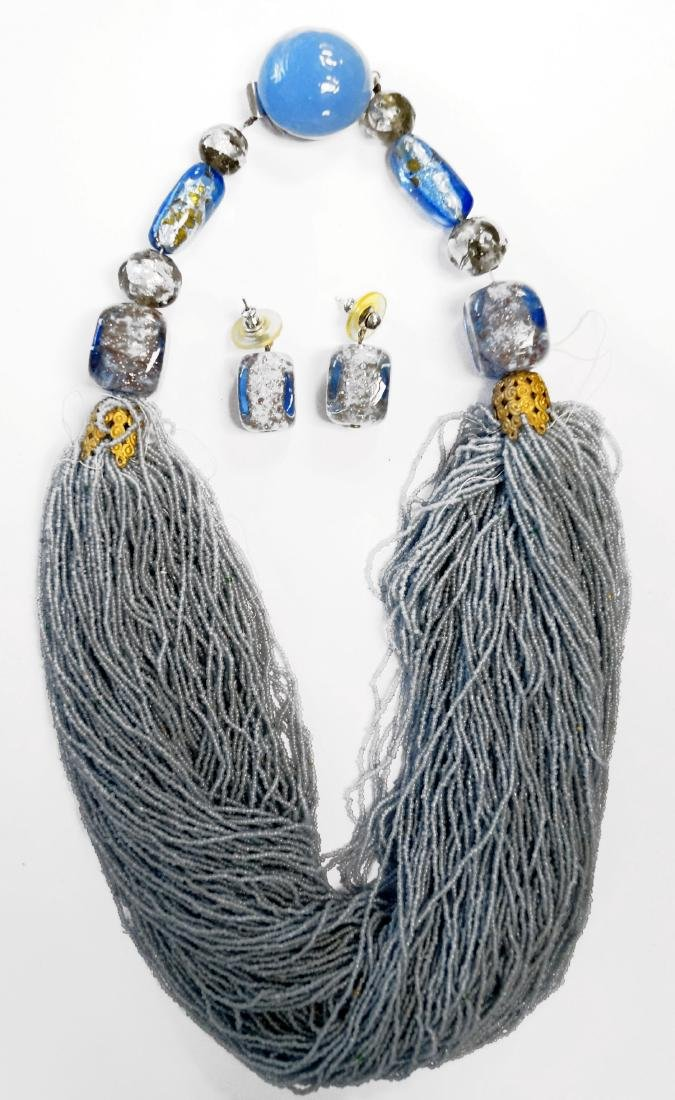 VENETIAN MULTI-STRAND BEADED NECKLACE AND EARRINGS,