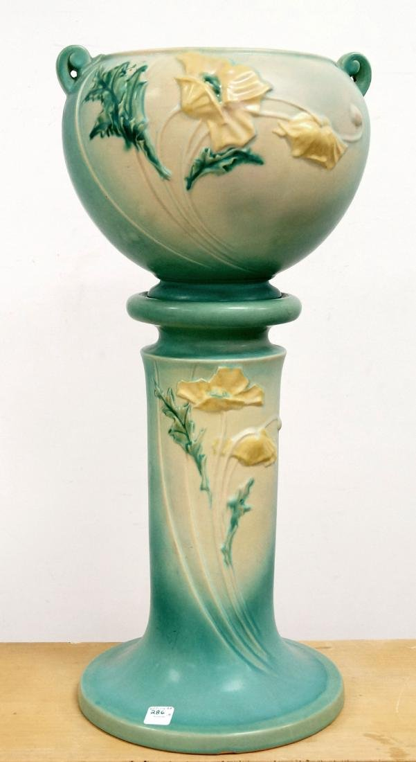 LOT (2) ROSEVILLE #642-8 POPPY JARDINIERE AND MATCHING