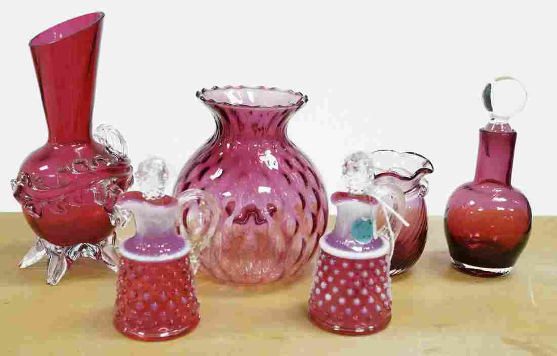 LOT (6) ASSORTED VICTORIAN CRANBERRY GLASS VASES AND