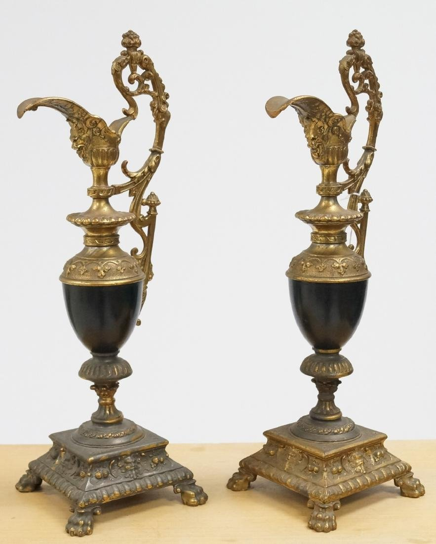 PAIR VICTORIAN GILT METAL GARNITURE URNS, 19TH CENTURY.