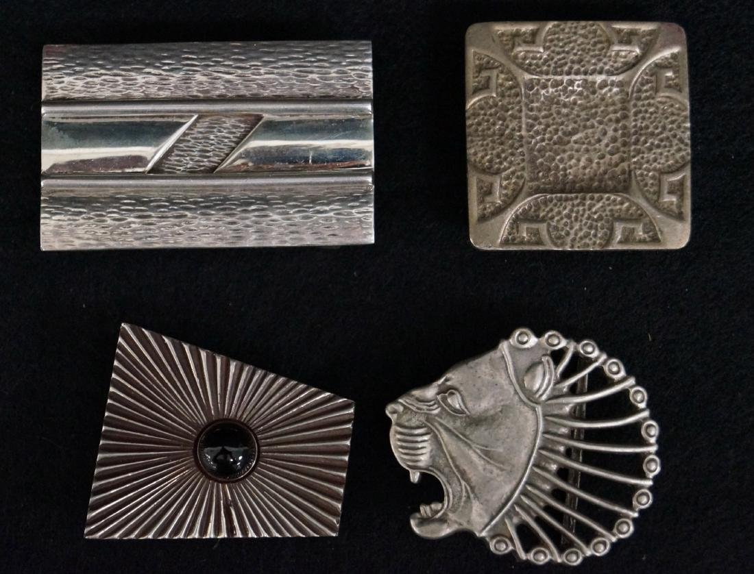 LOT (4) STERLING BELT BUCKLES, 1/SIGNED RETROTECH AND