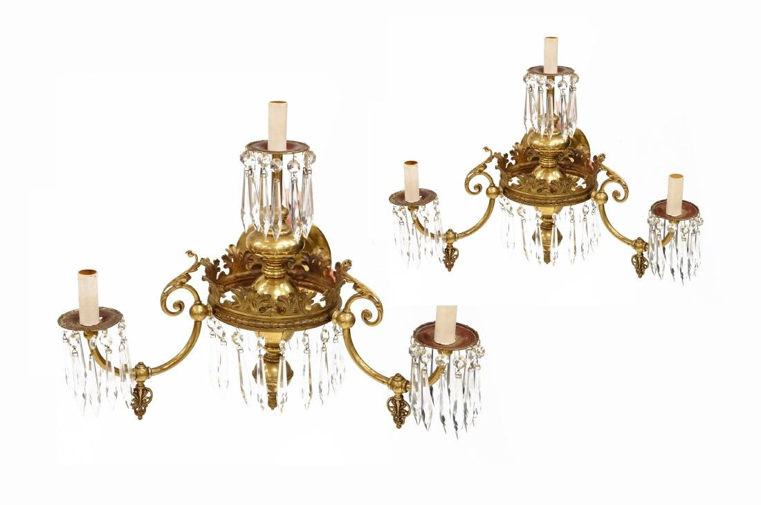 PAIR EDWARDIAN BRASS AND CRYSTAL GAS SCONCES
