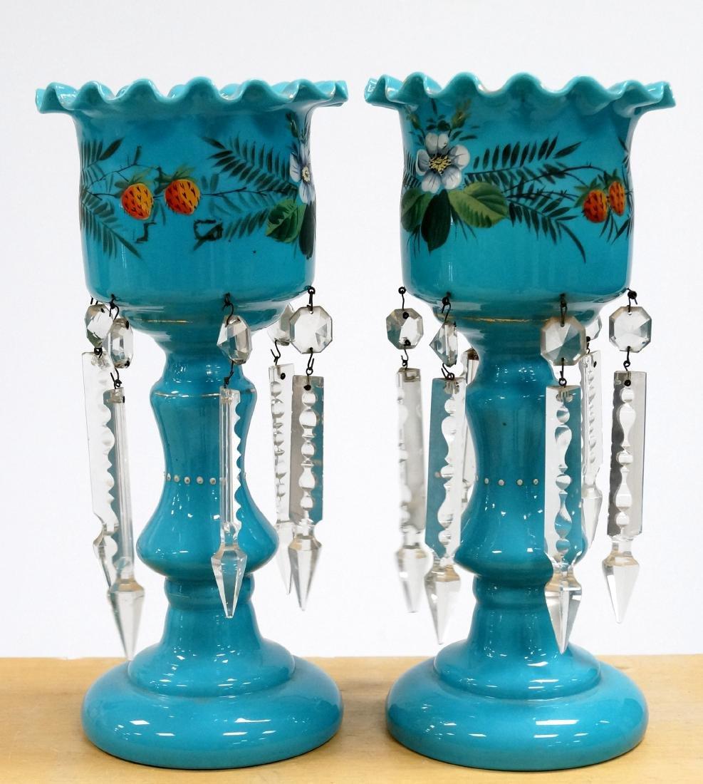 PAIR ANTIQUE BLUE OPALINE GLASS DECORATED GARNITURES