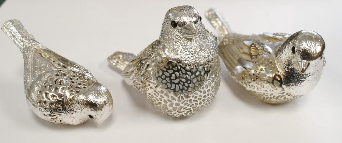 LOT (3) CHRISTOFLE SILVER PLATE BIRDS, SIGNED. LENGTH