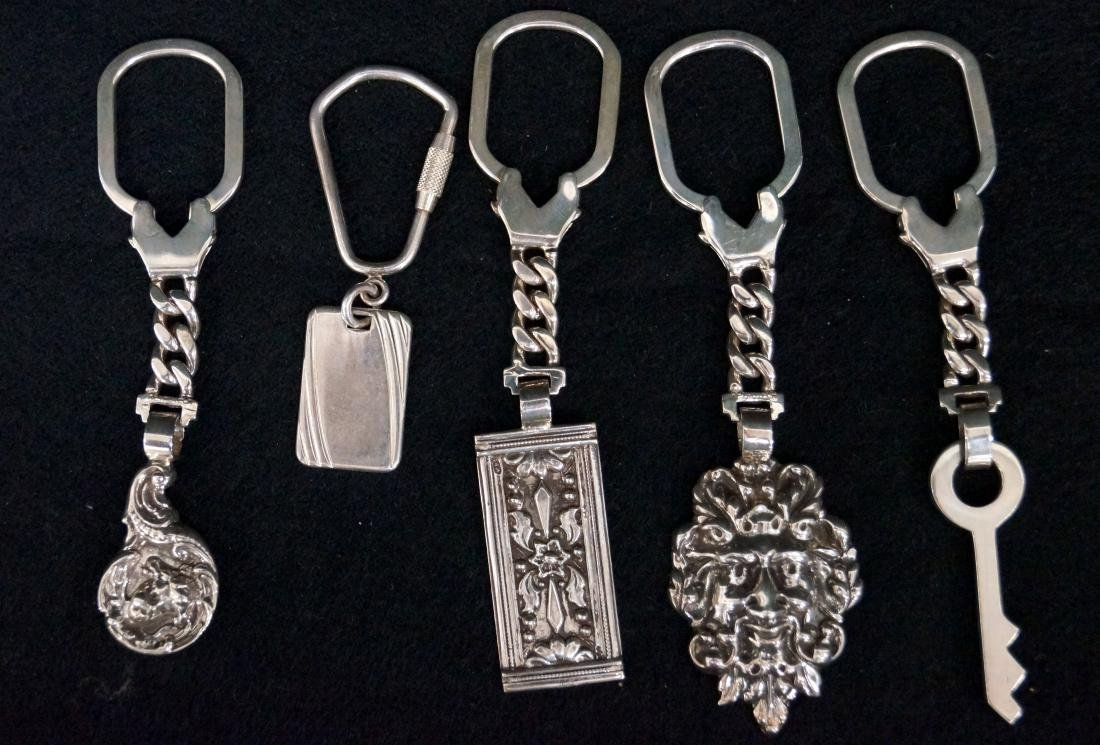 LOT (5) RETROTECH STERLING KEY CHAINS. LENGTH 2 1/2-4