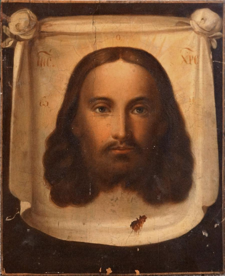 RUSSIAN ICON ON WOOD PANEL, HEAD OF CHRIST, 19TH