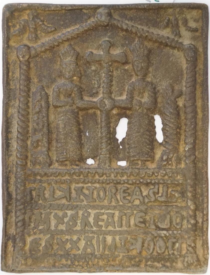 "CAST METAL COPTIC ICON, 19TH CENTURY. 6 X 4 3/4"""
