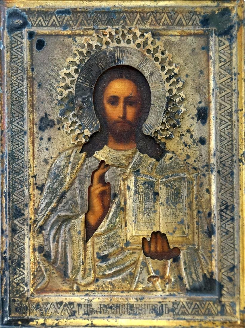 RUSSIAN ICON ON WOOD PANEL WITH GILT SILVER OKLAD,