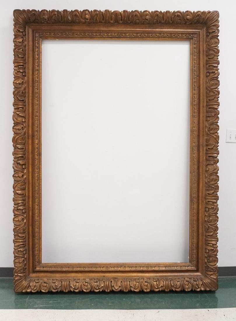 MASSIVE CARVED AND GILT FRAME. INSIDE 72 X 48; OVERALL
