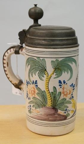 GERMAN/DUTCH FAIENCE POTTERY STEIN, SIGNED, 19TH
