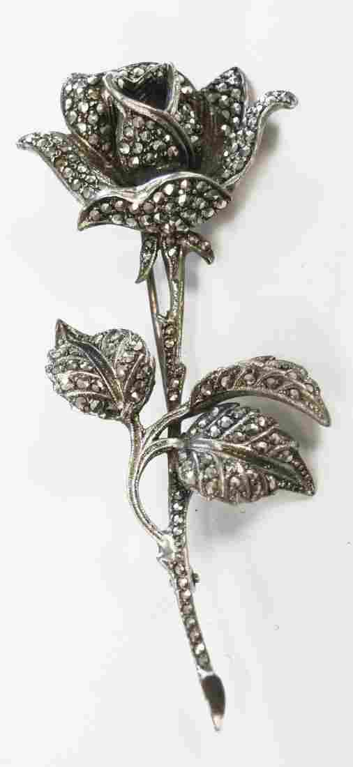 """VINTAGE 800 SILVER AND MARCASITE ROSE PIN. LENGTH 3"""";"""
