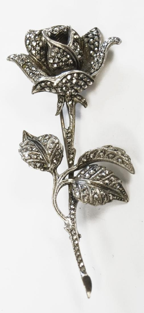 "VINTAGE 800 SILVER AND MARCASITE ROSE PIN. LENGTH 3"";"