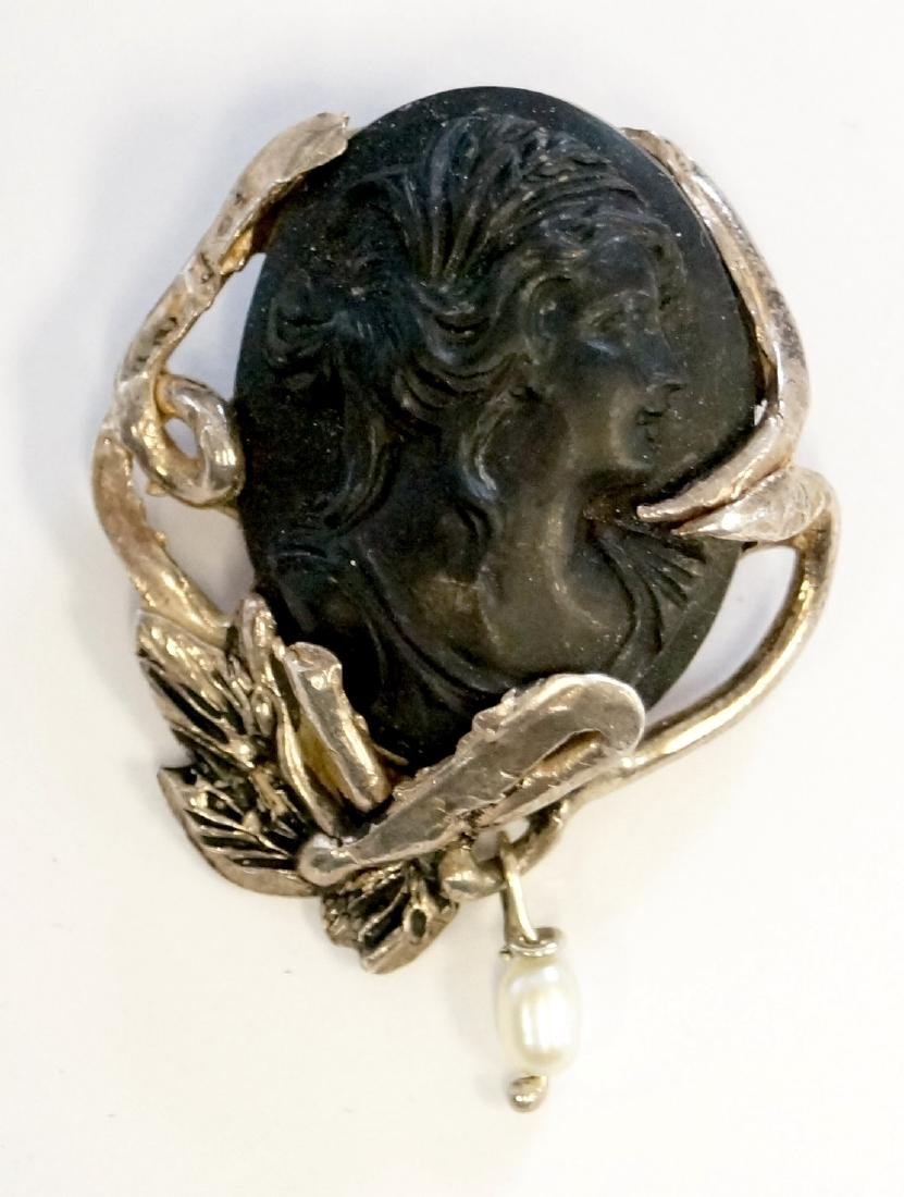 ANTIQUE CARVED GUTTA PERCHA CAMEO WITH CONTEMPORARY