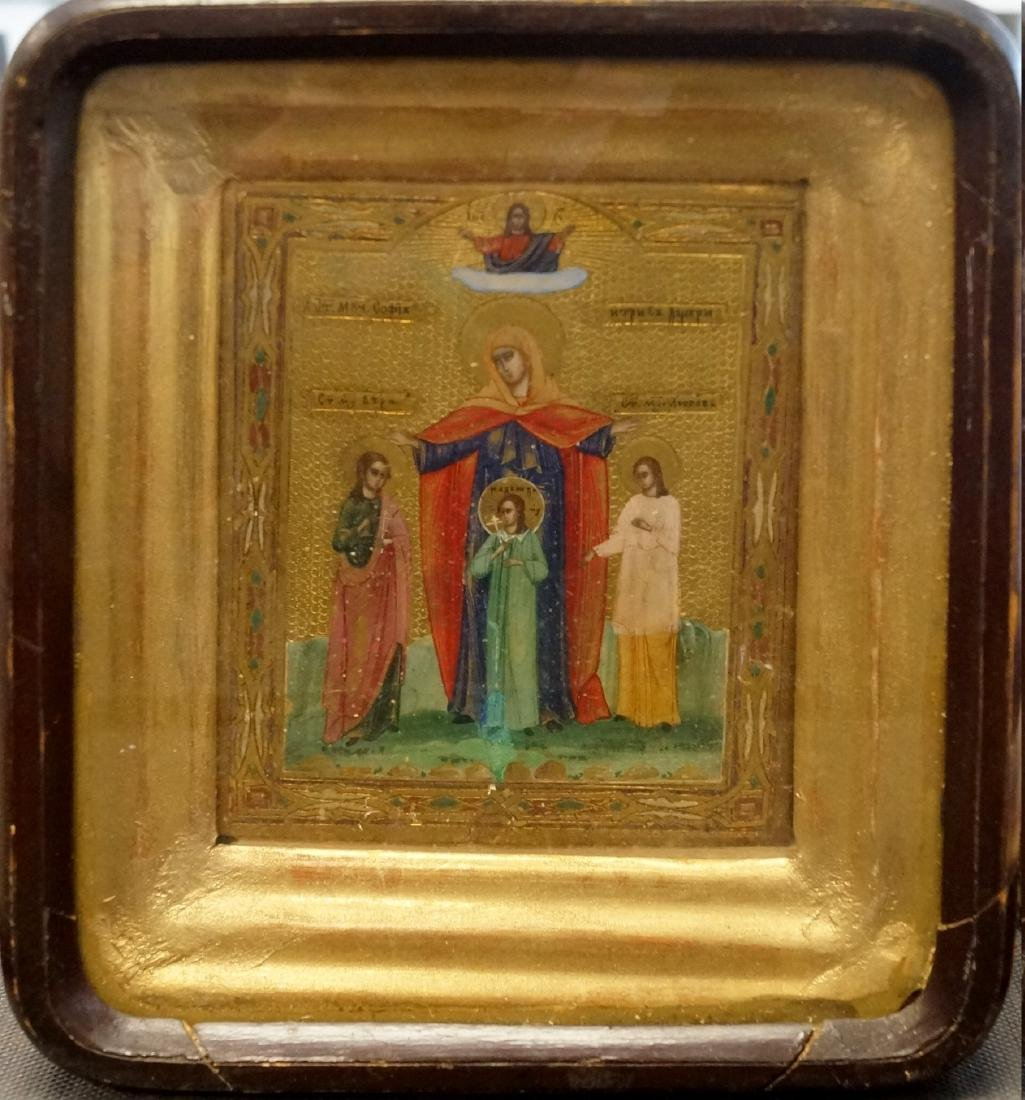 RUSSIAN ICON ON GILT WOOD PANEL, HOLY MOTHER WITH