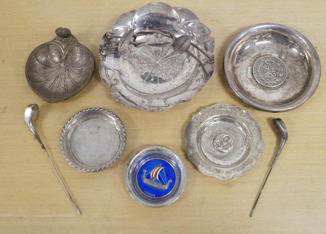 LOT ASSORTED STERLING AND SILVER INCLUDING BASKETS,