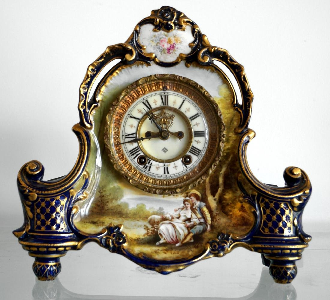 VINTAGE ANSONIA MANTLE CLOCK WITH ROYAL BONN DECORATED