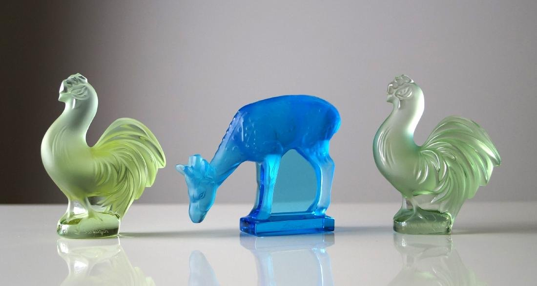 LOT (3) LALIQUE, FRANCE FROSTED CRYSTAL FIGURES, SIGNED