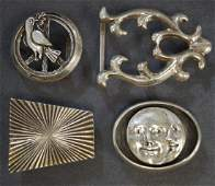 LOT 4 STERLING BELT BUCKLES 1SIGNED RETROTECH TWT