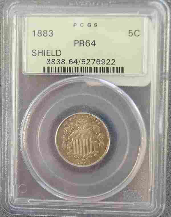 1883 SHIELD NICKEL COIN (PCGS PR-64)