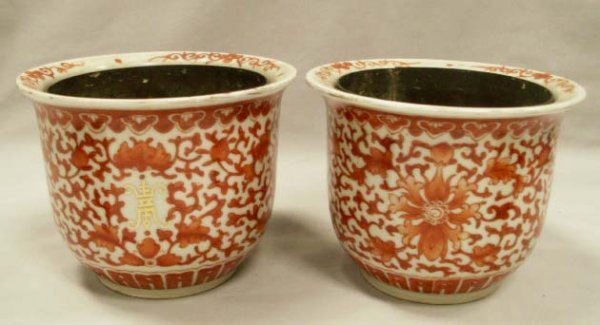1002: PAIR CHINESE DECORATED PLANTERS WITH BRASS LINERS