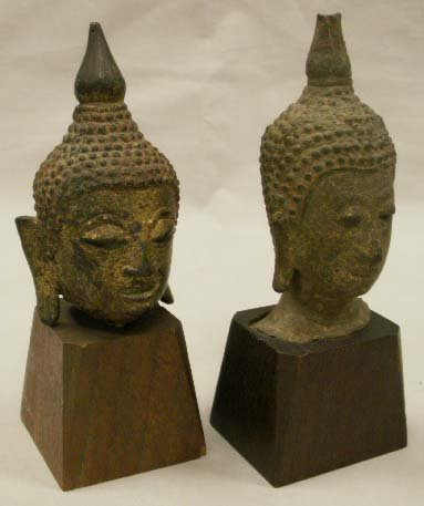 1004: LOT (2) THAI/CAMBODIAN BUDDHA HEADS