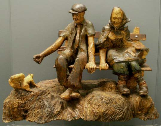 1015: FOLK ART CARVED/PAINTED WOOD GROUP