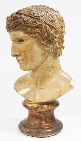 CONTINENTAL CAST STONE BUST OF DAVID, AFTER THE