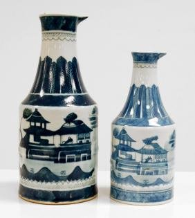 LOT (2) CHINESE EXPORT CANTON PORCELAIN BEAKERS, 19TH