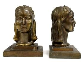 PAIR FRANKART PATINATED METAL FIGURAL BOOKENDS, SIGNED.