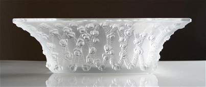 LALIQUE, FRANCE, CRYSTAL ROSES SQUARE BOWL, SIGNED.