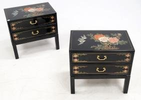 PAIR CHINESE STYLE LACQUERED AND PAINTED LAMP TABLES.