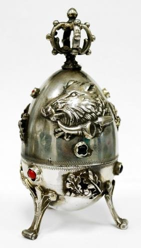 RUSSIAN (FABERGE STYLE) SILVER HUNTING EGG. HEIGHT 4