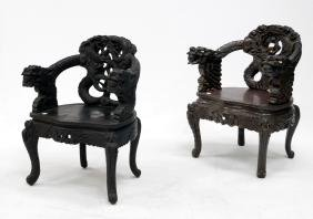 LOT (2) CHINESE CARVED AND LACQUERED DRAGON ARMCHAIRS