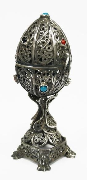 """RUSSIAN (FABERGE STYLE) SILVER EGG. HEIGHT 4""""; 2.76 OZT"""