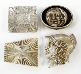 LOT (4) STERLING BELT BUCKLES, 2/SIGNED RETROTECH. TWT