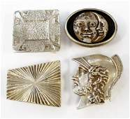 LOT 4 STERLING BELT BUCKLES 2SIGNED RETROTECH TWT