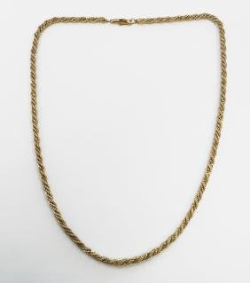 """14K YELLOW GOLD ROPE TWIST NECKLACE. LENGTH 18""""; 11.5"""