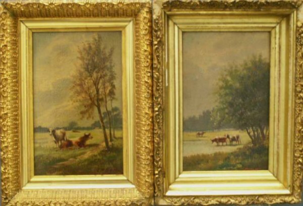 12: LOT (2) OIL ON CANVAS, COWS AT PASTURE, BECHI