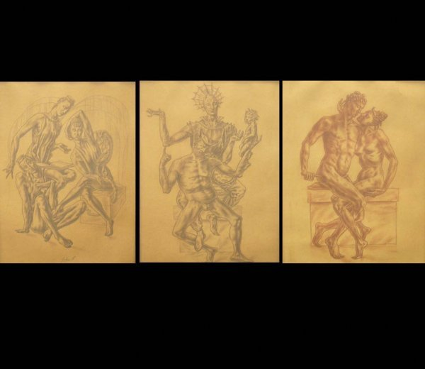 13: LOT (3) CONTE CRAYON DRAWINGS, AMOROUS FIGURES