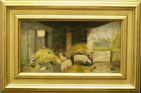 20: OIL ON CANVAS, BARNYARD WITH SHEEP