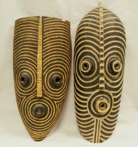 LOT (2) MOSSI CARVED OWL MASKS, IVORY COAST