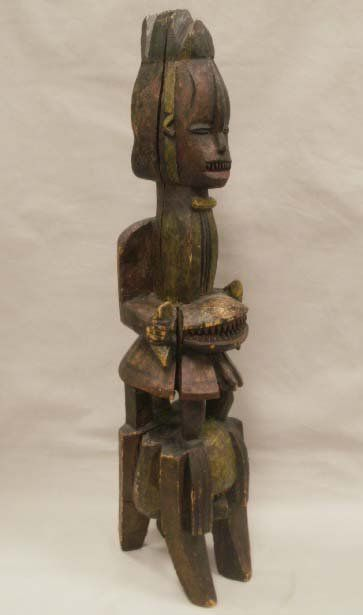 231: IBO CARVED/POLYCHROME FIGURAL HEADDRESS, NIGERIA