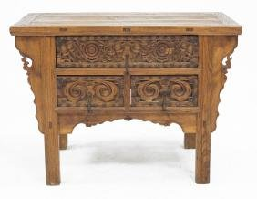 PHILIPPINE SPANISH COLONIAL CARVED ALTER TABLE, 19TH