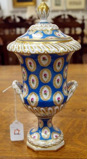 DRESDEN DECORATED PORCELAIN COVERED URN, SIGNED. HEIGHT
