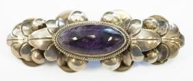 """MEXICAN SILVER AND AMETHYST BROOCH. LENGTH 3""""; GROSS"""