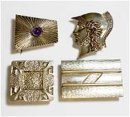 LOT 4 RETROTECH STERLING BELT BUCKLES 1SIGNED D