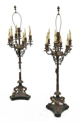 PAIR RENAISSANCE REVIVAL BRONZE CANDELABRA LAMPS.