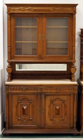 VICTORIAN CARVED WALNUT CHINA CABINET WITH ONYX TOP,