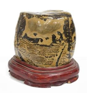 """CHINESE SCHOLAR'S STONE WITH STAND. HEIGHT 6 1/4"""""""